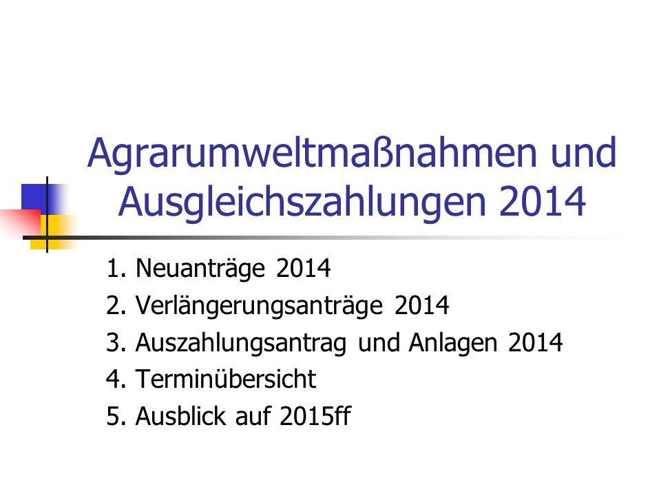 Agrarumweltmaßnahmen und Ausgleichszahlungen 2014