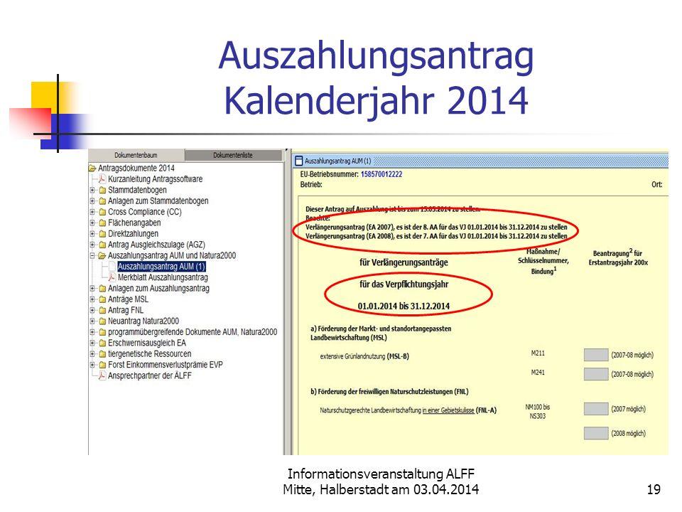 Auszahlungsantrag Kalenderjahr 2014