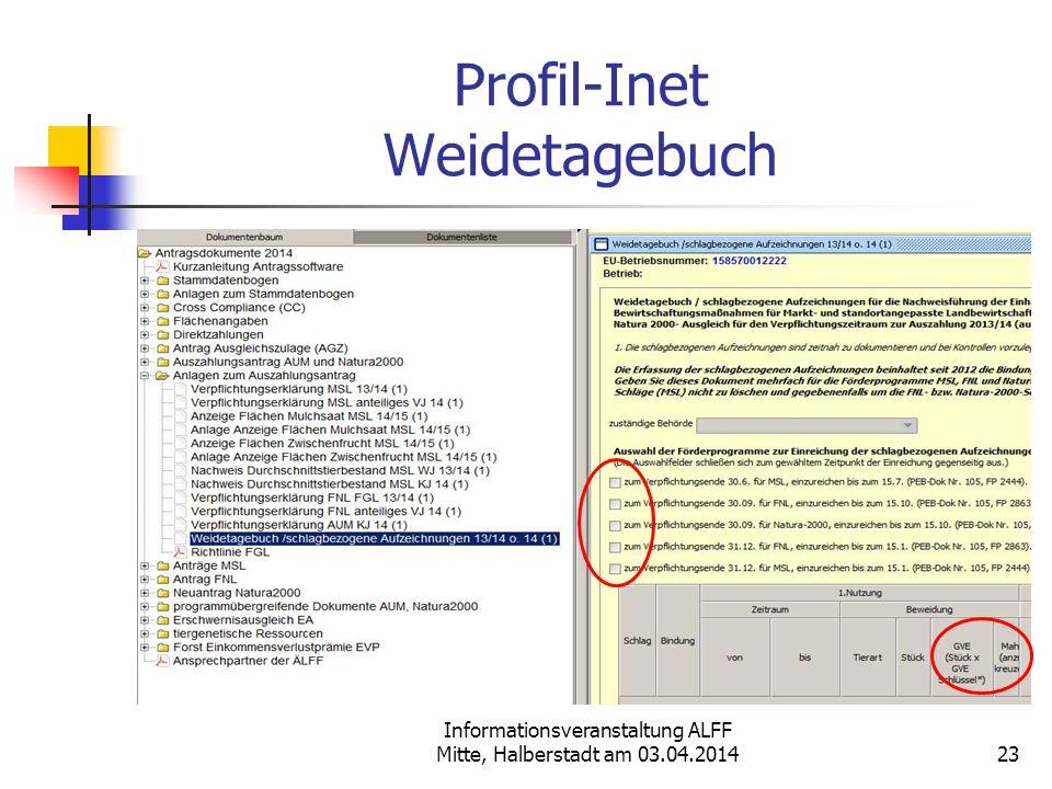 Profil-Inet Weidetagebuch