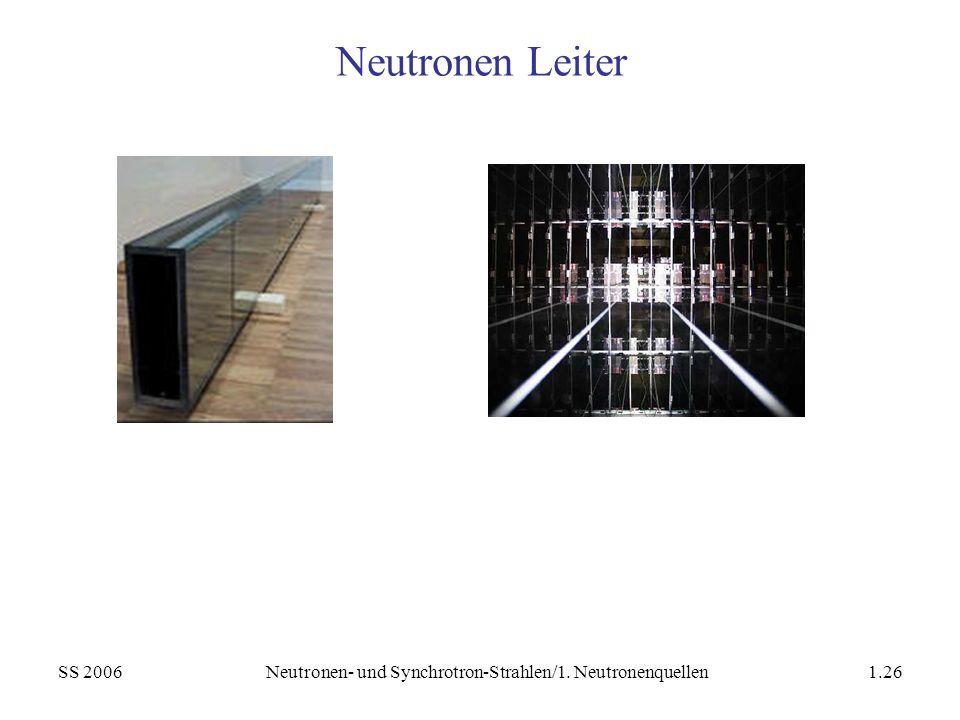 Neutronen- und Synchrotron-Strahlen/1. Neutronenquellen
