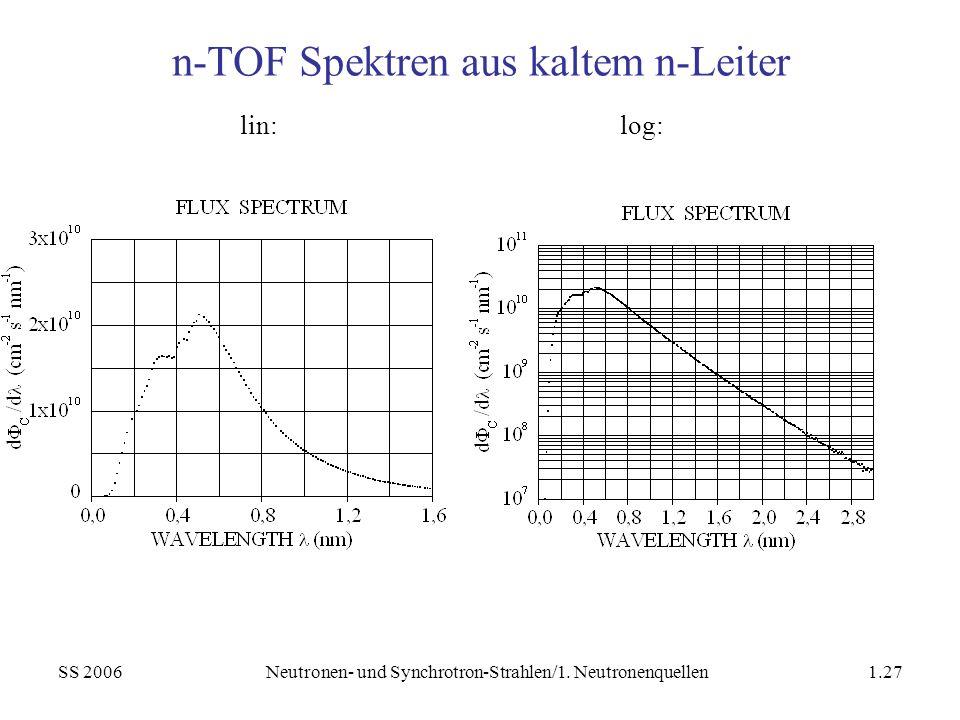 n-TOF Spektren aus kaltem n-Leiter