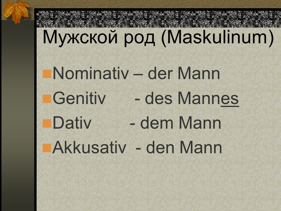 Мужской род (Maskulinum)
