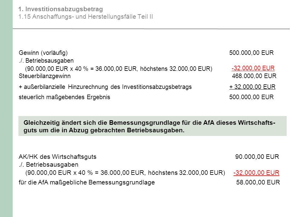 AK/HK des Wirtschaftsguts 90.000,00 EUR ./. Betriebsausgaben