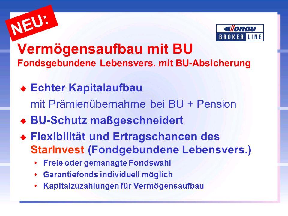 Vermögensaufbau mit BU Fondsgebundene Lebensvers. mit BU-Absicherung