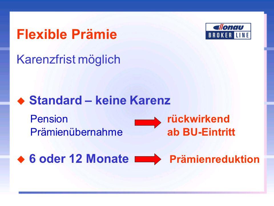 Flexible Prämie Karenzfrist möglich Standard – keine Karenz