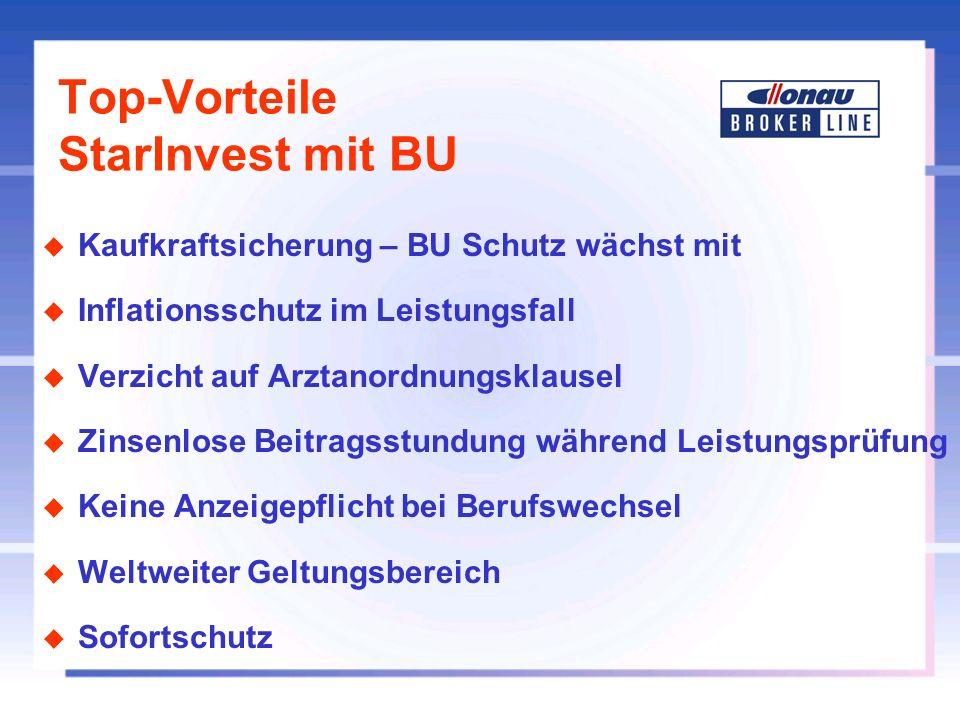 Top-Vorteile StarInvest mit BU