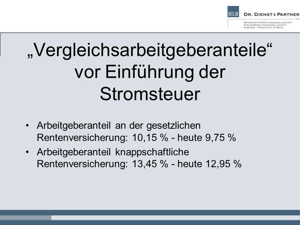 """""""Vergleichsarbeitgeberanteile vor Einführung der Stromsteuer"""