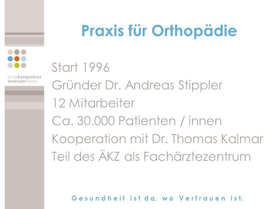 Praxis für Orthopädie Start 1996 Gründer Dr. Andreas Stippler