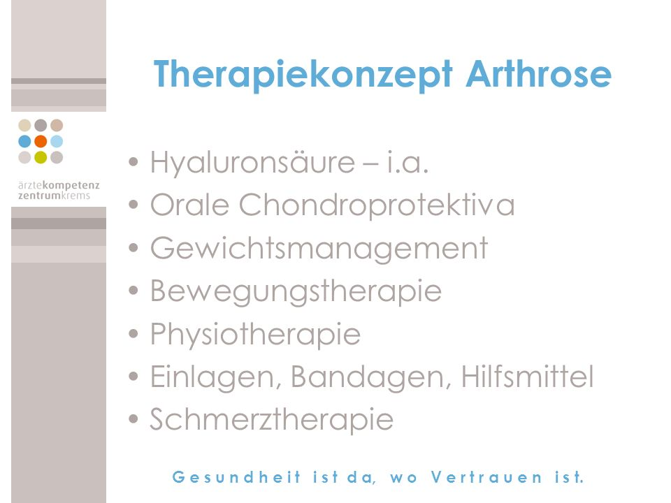 Therapiekonzept Arthrose