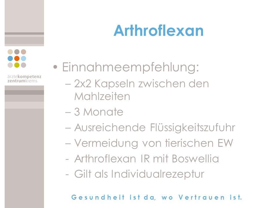 Arthroflexan Einnahmeempfehlung: 2x2 Kapseln zwischen den Mahlzeiten