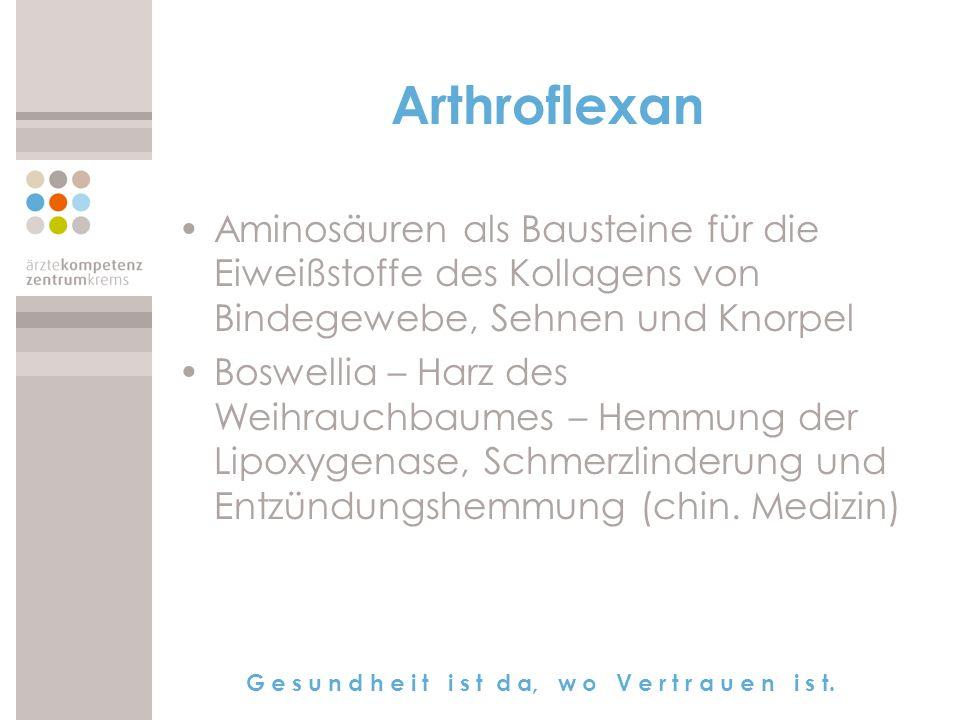Arthroflexan Aminosäuren als Bausteine für die Eiweißstoffe des Kollagens von Bindegewebe, Sehnen und Knorpel.