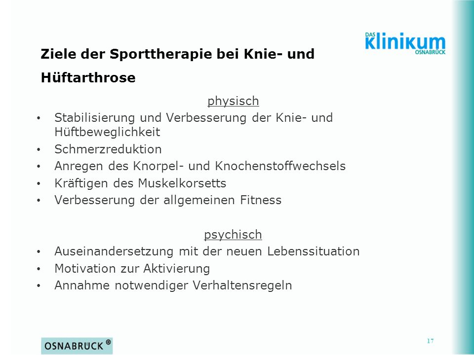 Ziele der Sporttherapie bei Knie- und Hüftarthrose