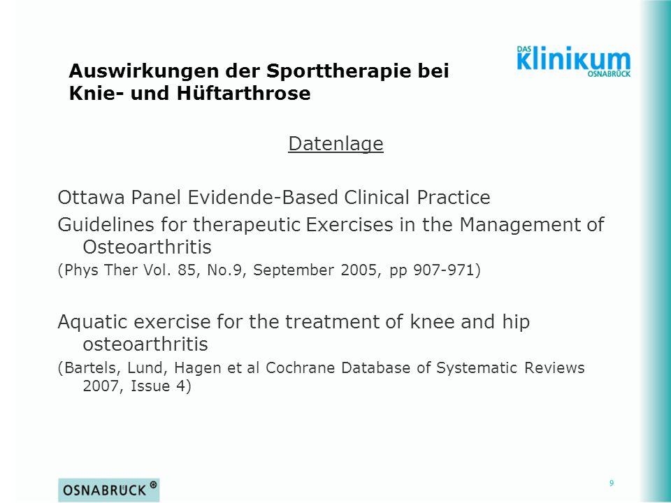 Auswirkungen der Sporttherapie bei Knie- und Hüftarthrose