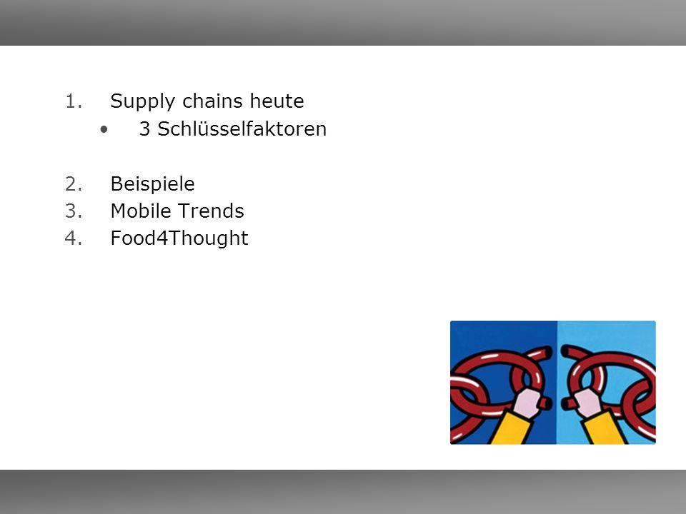 Supply chains heute 3 Schlüsselfaktoren Beispiele Mobile Trends