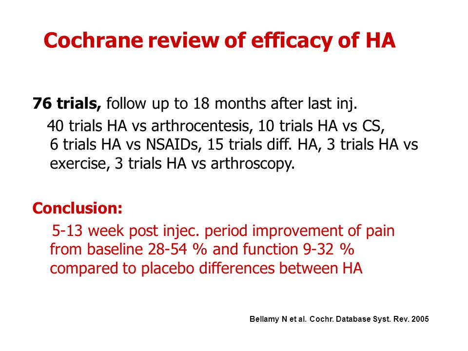 Cochrane review of efficacy of HA