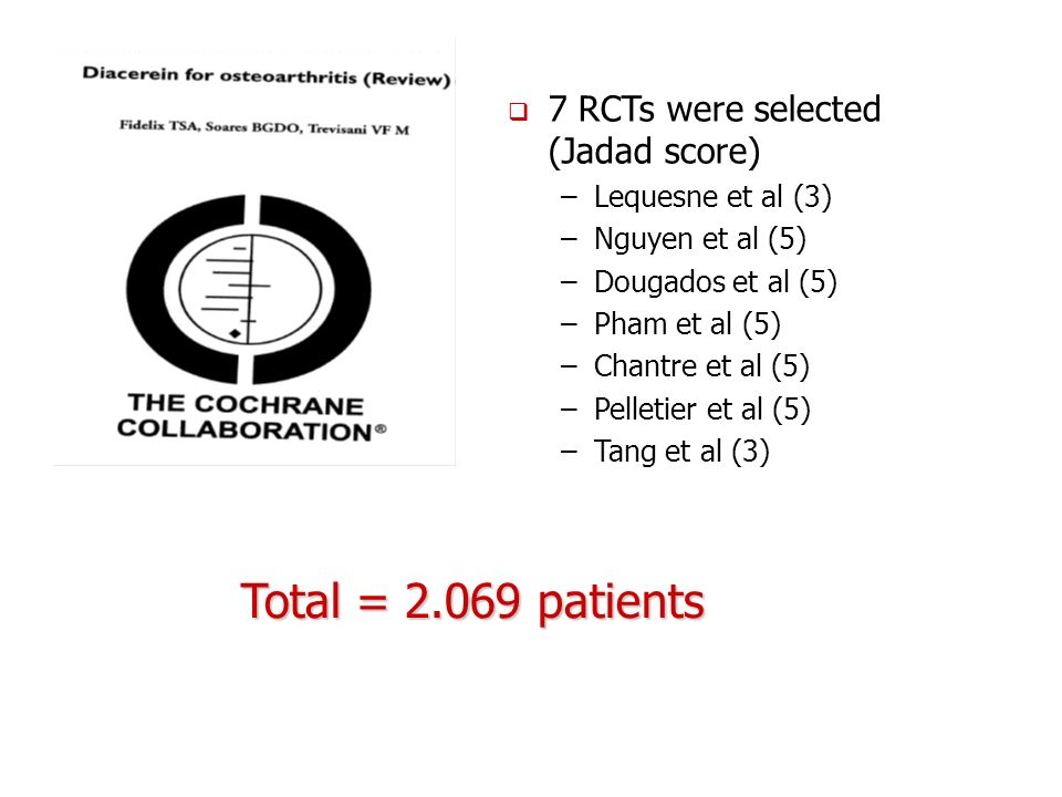 Total = 2.069 patients 7 RCTs were selected (Jadad score)