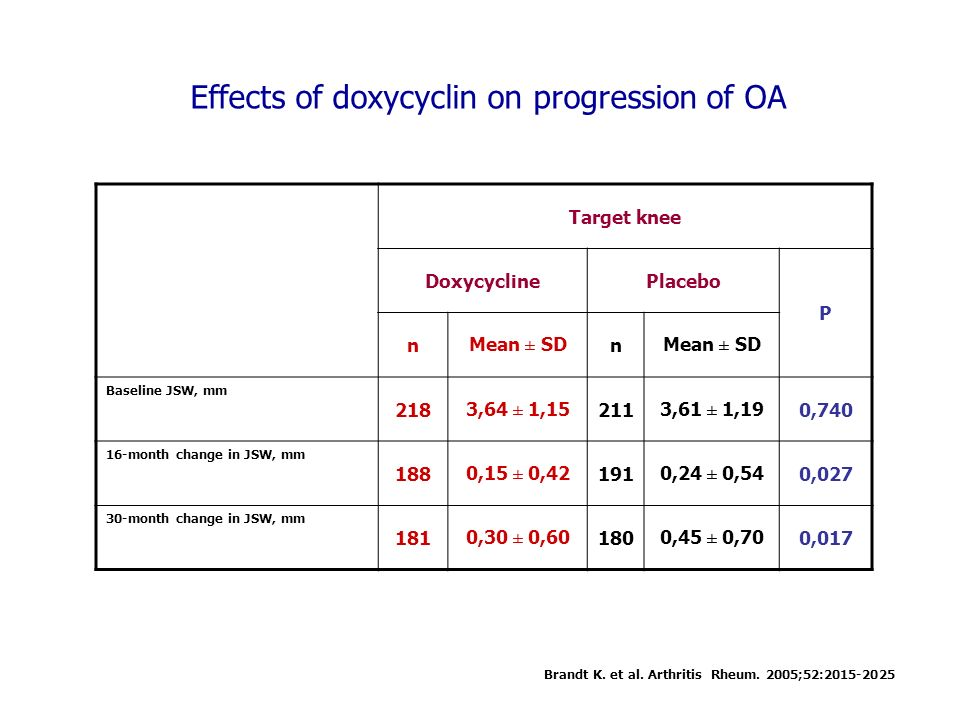 Effects of doxycyclin on progression of OA