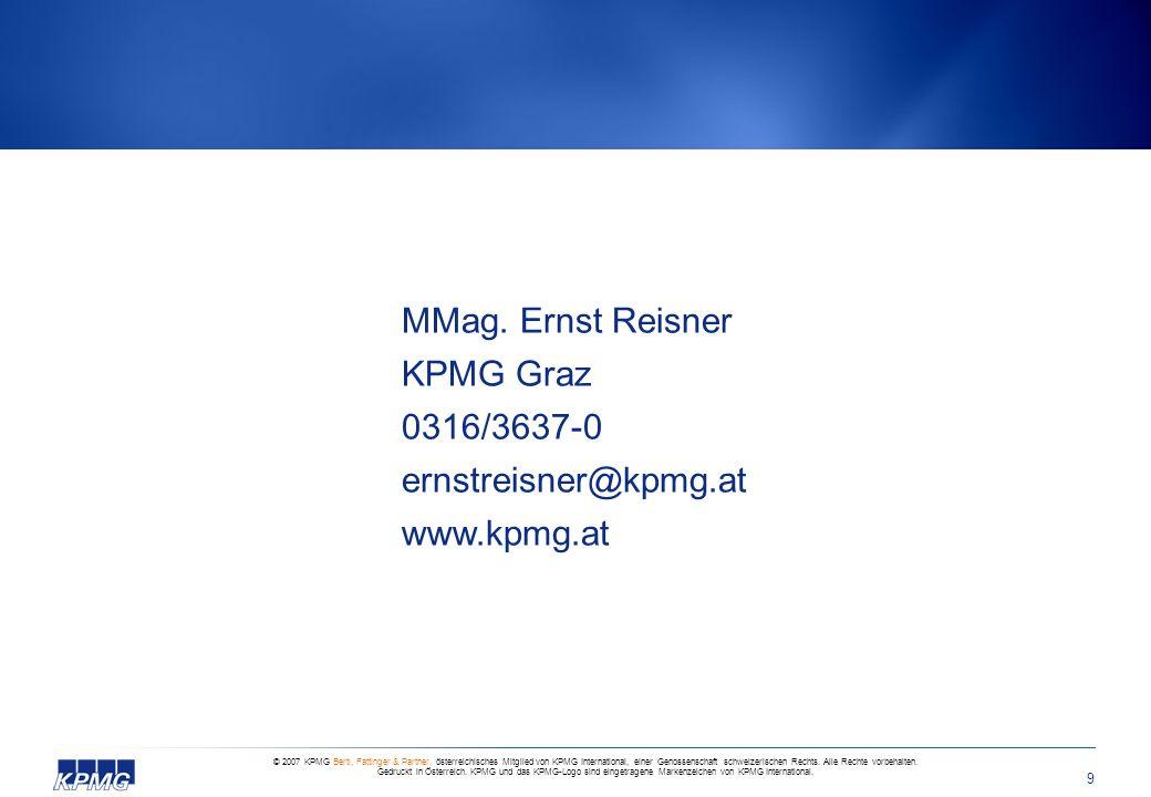 MMag. Ernst Reisner KPMG Graz 0316/3637-0 ernstreisner@kpmg. at www