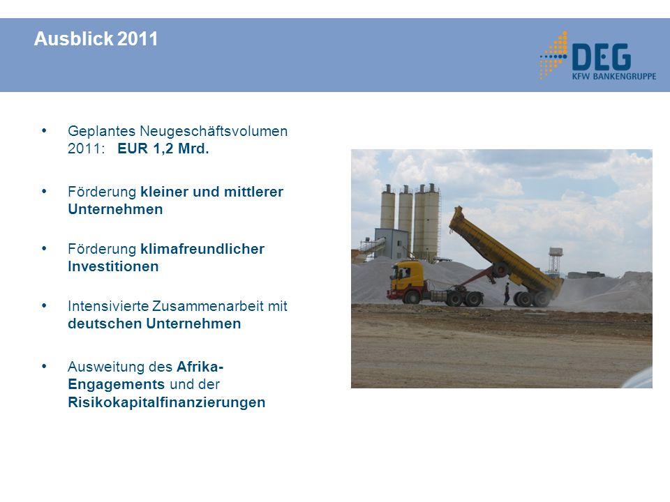 Ausblick 2011 Geplantes Neugeschäftsvolumen 2011: EUR 1,2 Mrd.