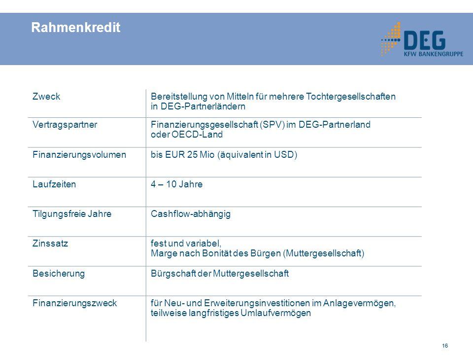 Rahmenkredit Zweck. Bereitstellung von Mitteln für mehrere Tochtergesellschaften. in DEG-Partnerländern.