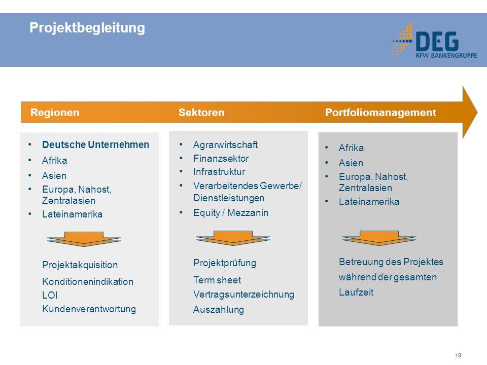 Projektbegleitung Regionen Sektoren Portfoliomanagement