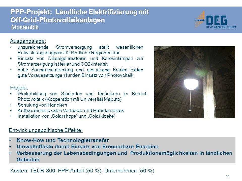 PPP-Projekt: Ländliche Elektrifizierung mit Off-Grid-Photovoltaikanlagen