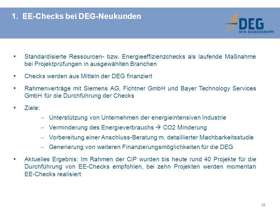 1. EE-Checks bei DEG-Neukunden