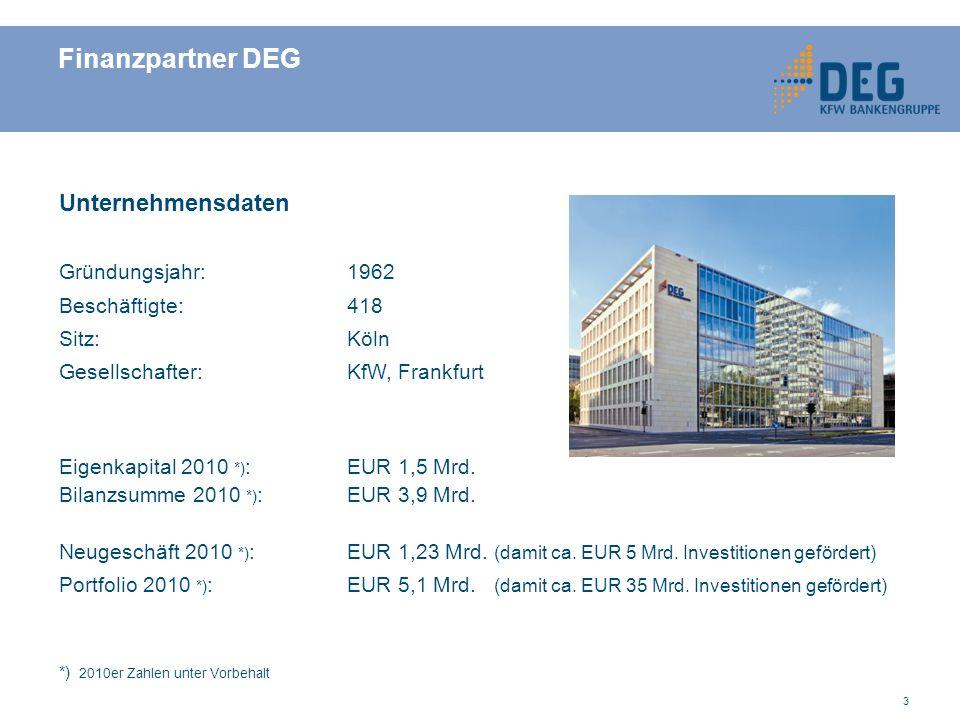 Finanzpartner DEG Unternehmensdaten Gründungsjahr: 1962