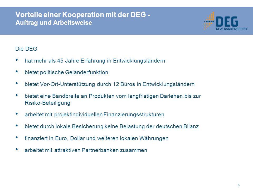 Vorteile einer Kooperation mit der DEG - Auftrag und Arbeitsweise