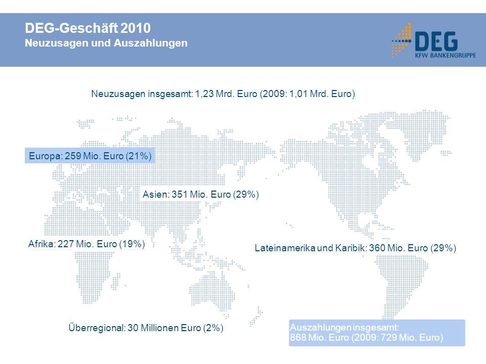 DEG-Geschäft 2010 Neuzusagen und Auszahlungen