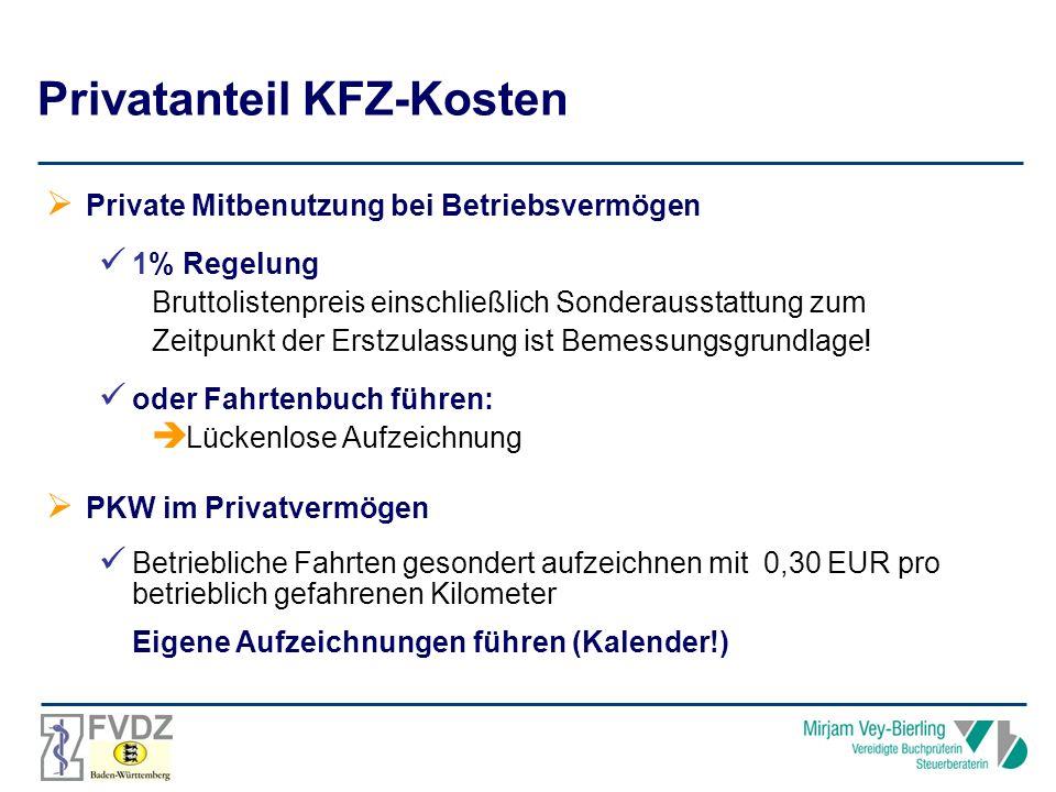 Privatanteil KFZ-Kosten