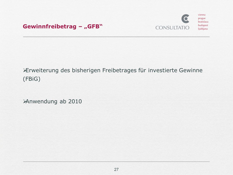 """Gewinnfreibetrag – """"GFB"""
