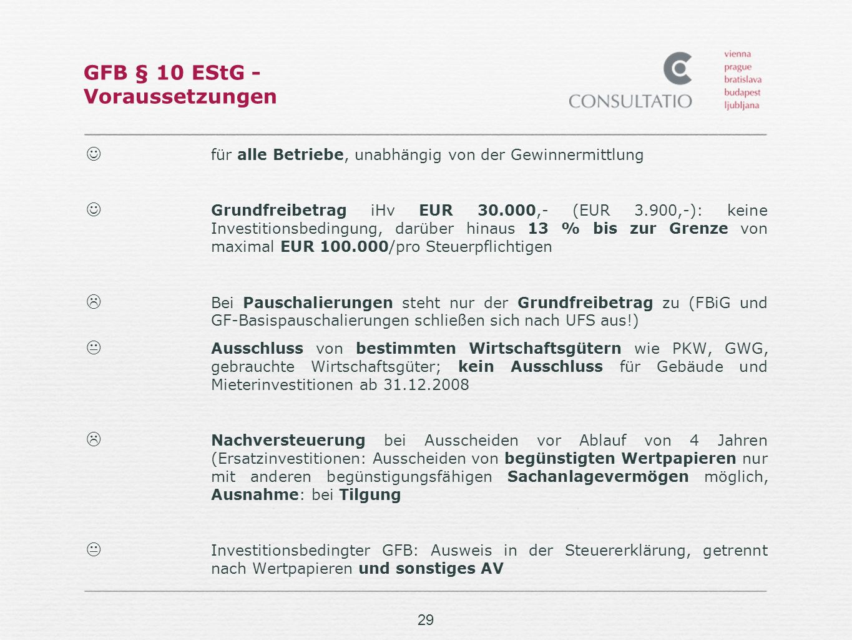 GFB § 10 EStG - Voraussetzungen