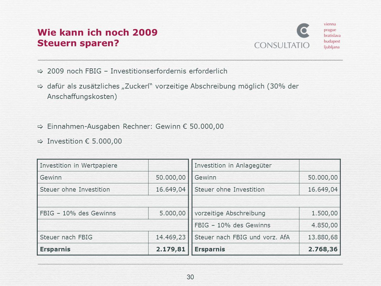 Wie kann ich noch 2009 Steuern sparen