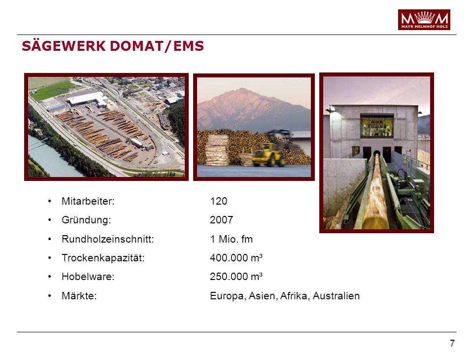SÄGEWERK DOMAT/EMS Mitarbeiter: 120 Gründung: 2007