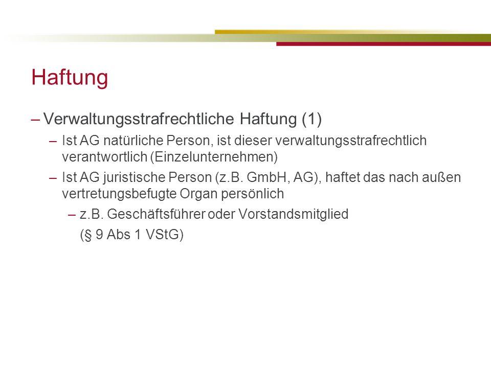 Haftung Verwaltungsstrafrechtliche Haftung (1)