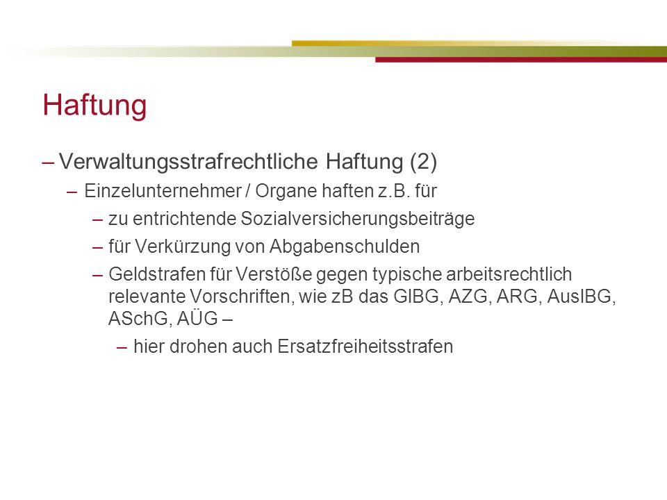 Haftung Verwaltungsstrafrechtliche Haftung (2)