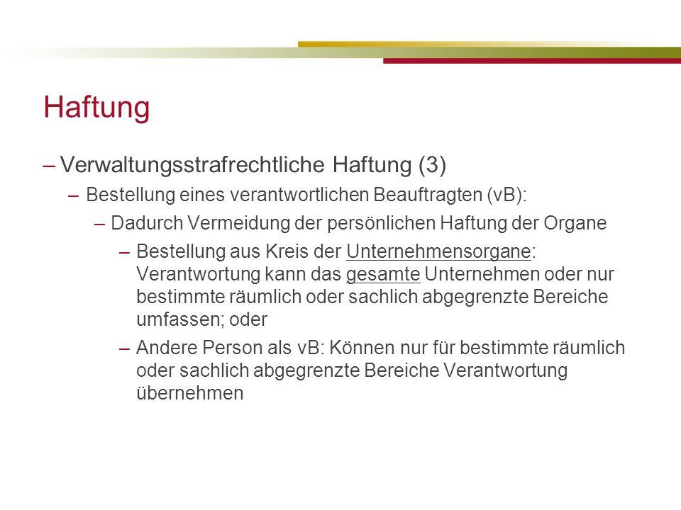 Haftung Verwaltungsstrafrechtliche Haftung (3)