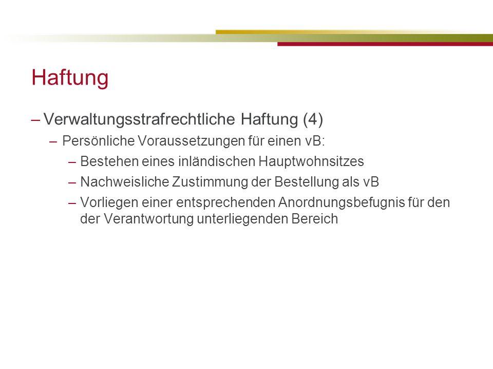 Haftung Verwaltungsstrafrechtliche Haftung (4)