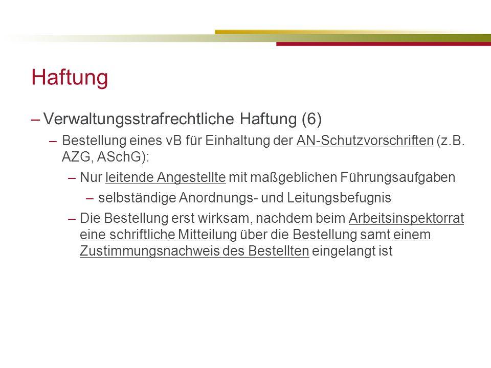 Haftung Verwaltungsstrafrechtliche Haftung (6)