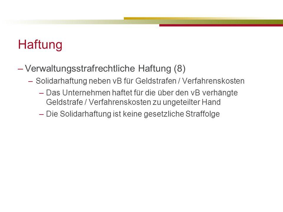 Haftung Verwaltungsstrafrechtliche Haftung (8)