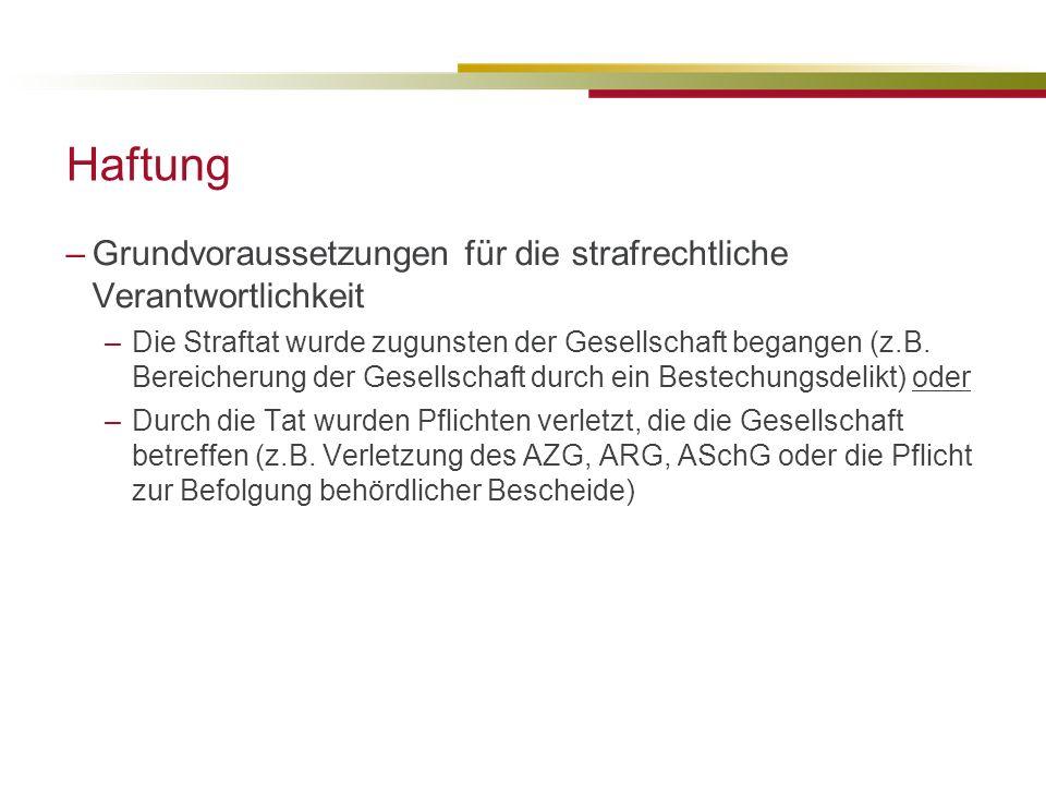 Haftung Grundvoraussetzungen für die strafrechtliche Verantwortlichkeit.