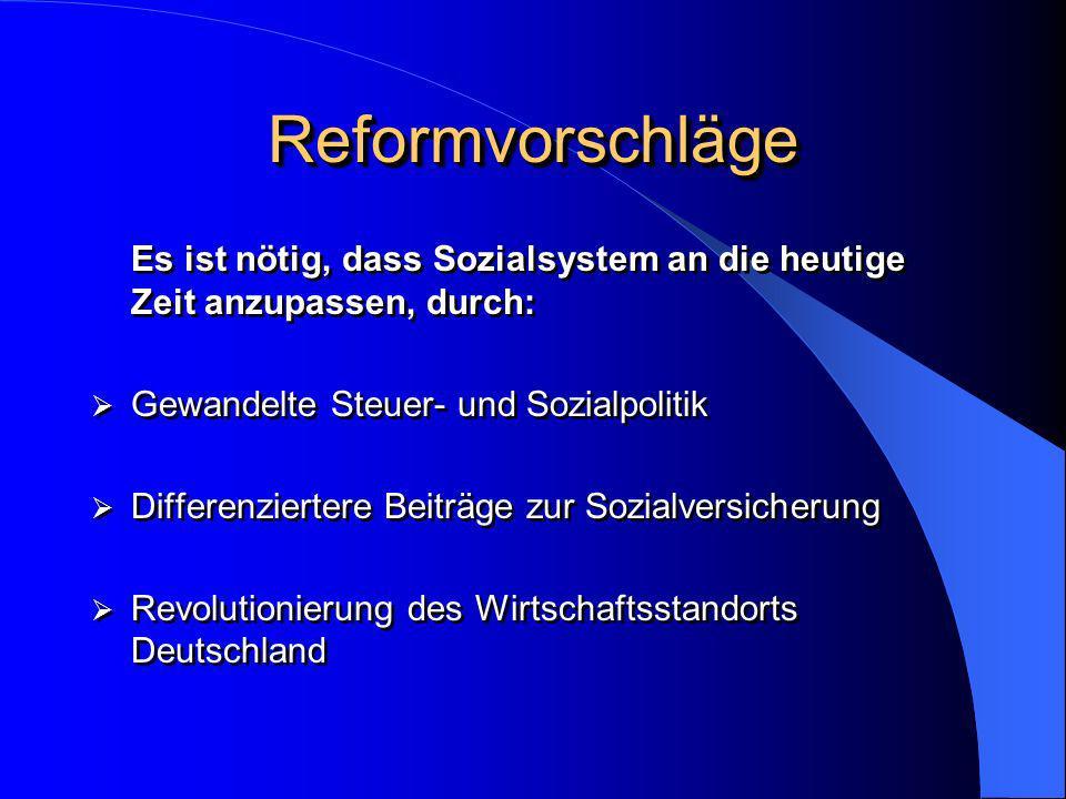 Reformvorschläge Es ist nötig, dass Sozialsystem an die heutige Zeit anzupassen, durch: Gewandelte Steuer- und Sozialpolitik.