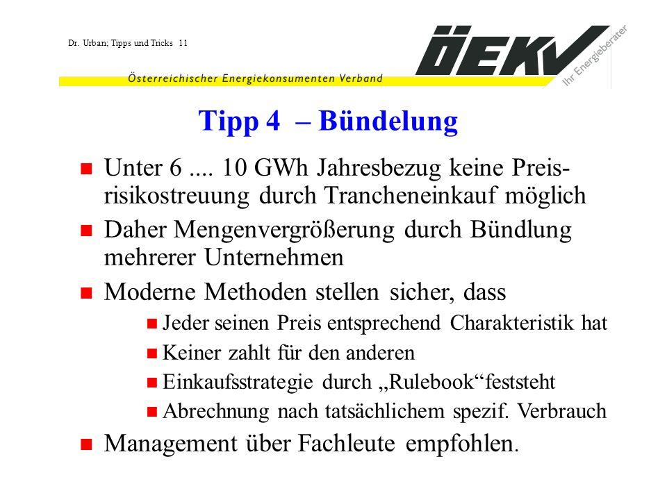 Tipp 4 – Bündelung Unter 6 .... 10 GWh Jahresbezug keine Preis-risikostreuung durch Trancheneinkauf möglich.