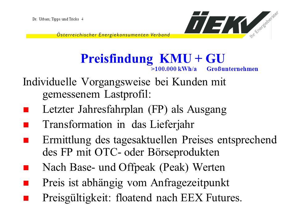 Preisfindung KMU + GU >100.000 kWh/a Großunternehmen. Individuelle Vorgangsweise bei Kunden mit gemessenem Lastprofil: