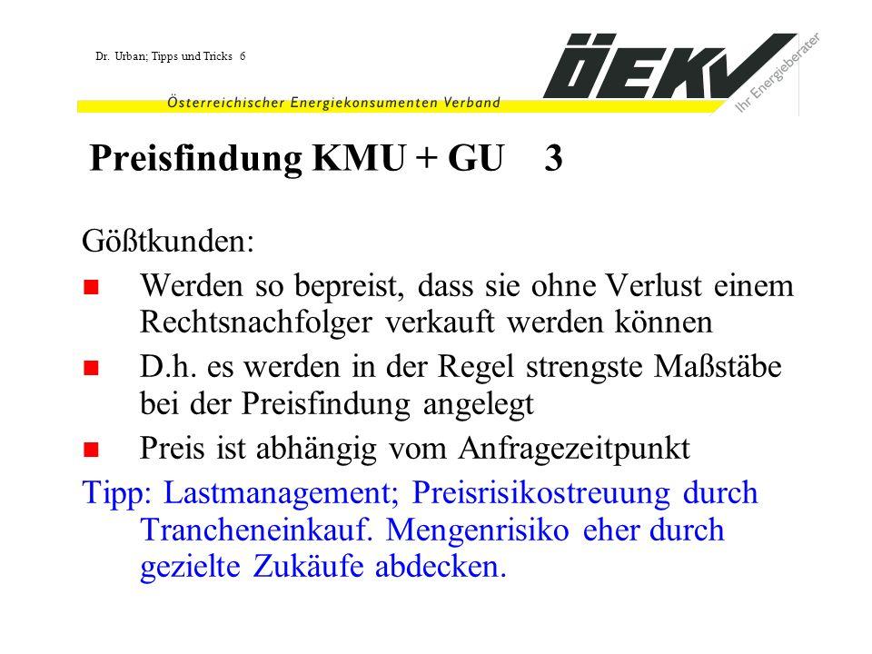 Preisfindung KMU + GU 3 Gößtkunden: