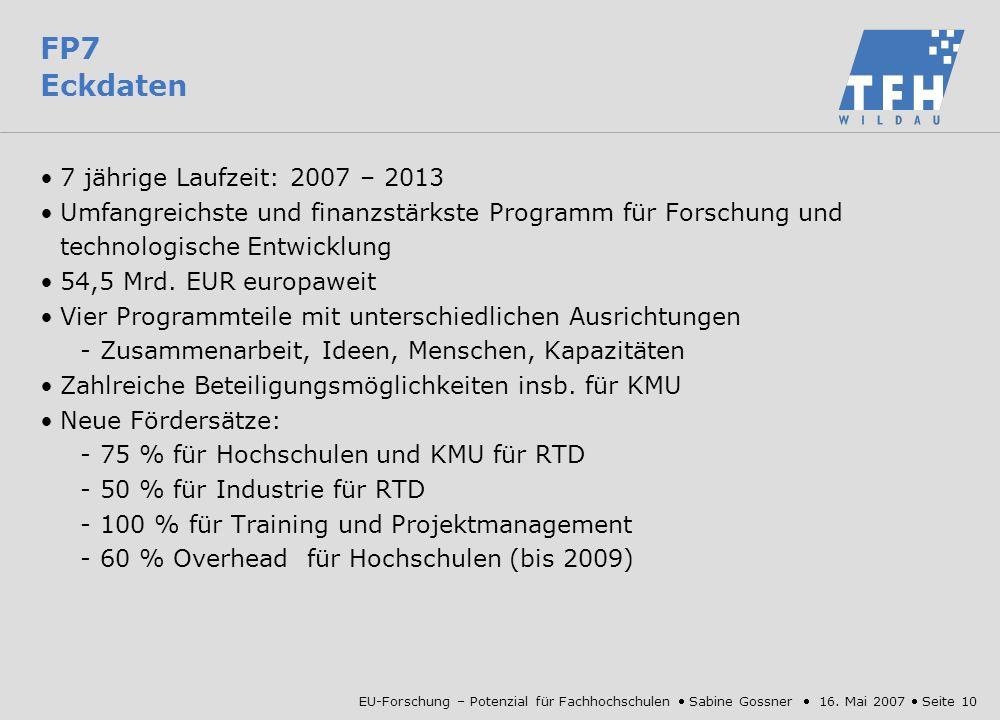 FP7 Eckdaten 7 jährige Laufzeit: 2007 – 2013