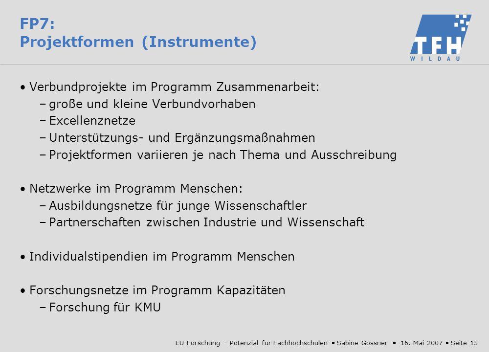 FP7: Projektformen (Instrumente)