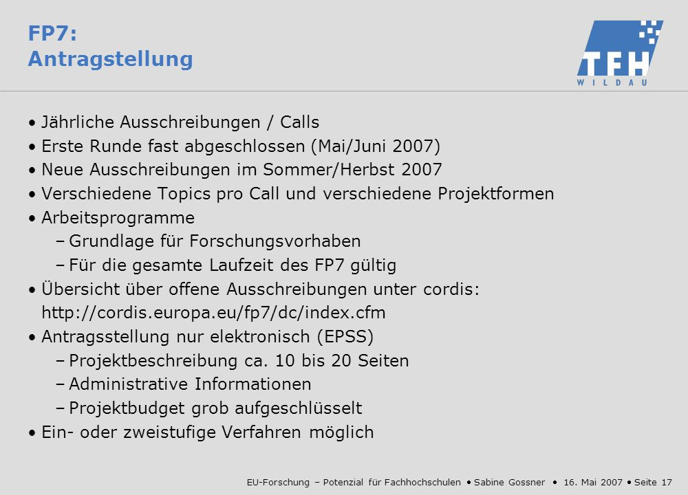 FP7: Antragstellung Jährliche Ausschreibungen / Calls