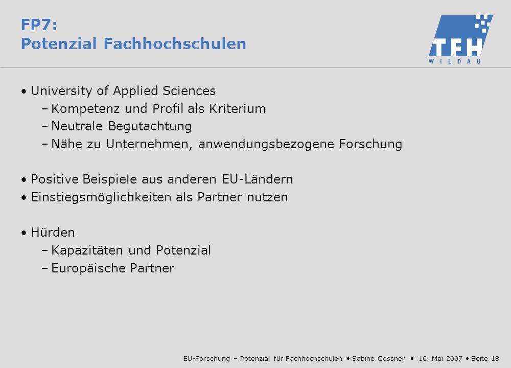 FP7: Potenzial Fachhochschulen